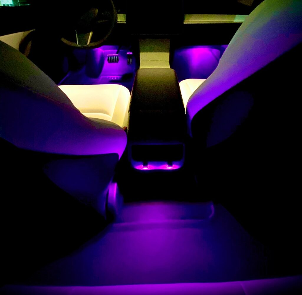 tesla model 3 interior at night