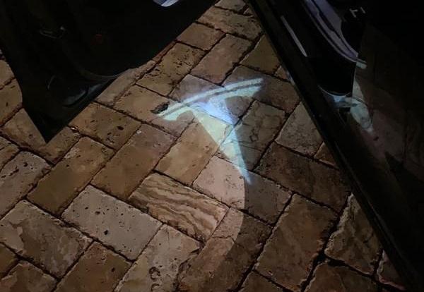 tesla logo puddle courtesy lights